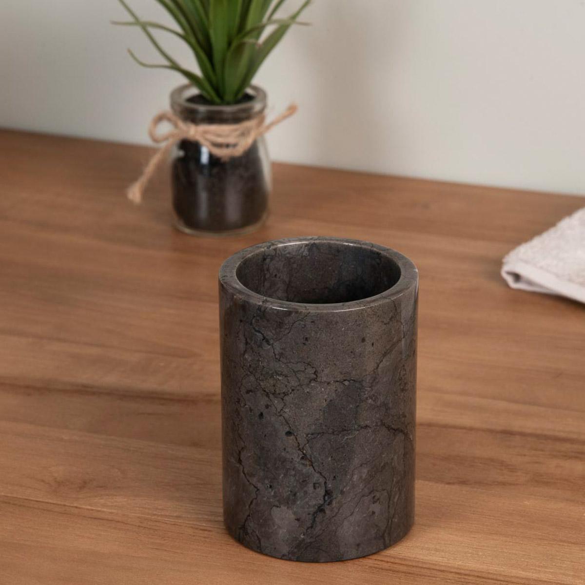 Gobelet de salle de bain en marbre noir d 7 5 cm for Accessoire salle de bain marbre