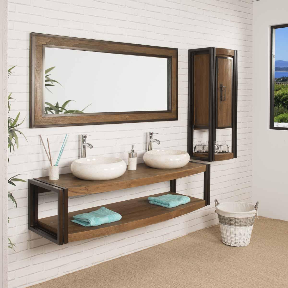 Grand miroir de salle de bain el gance teck m tal 145x70 - Miroir teck salle de bain ...