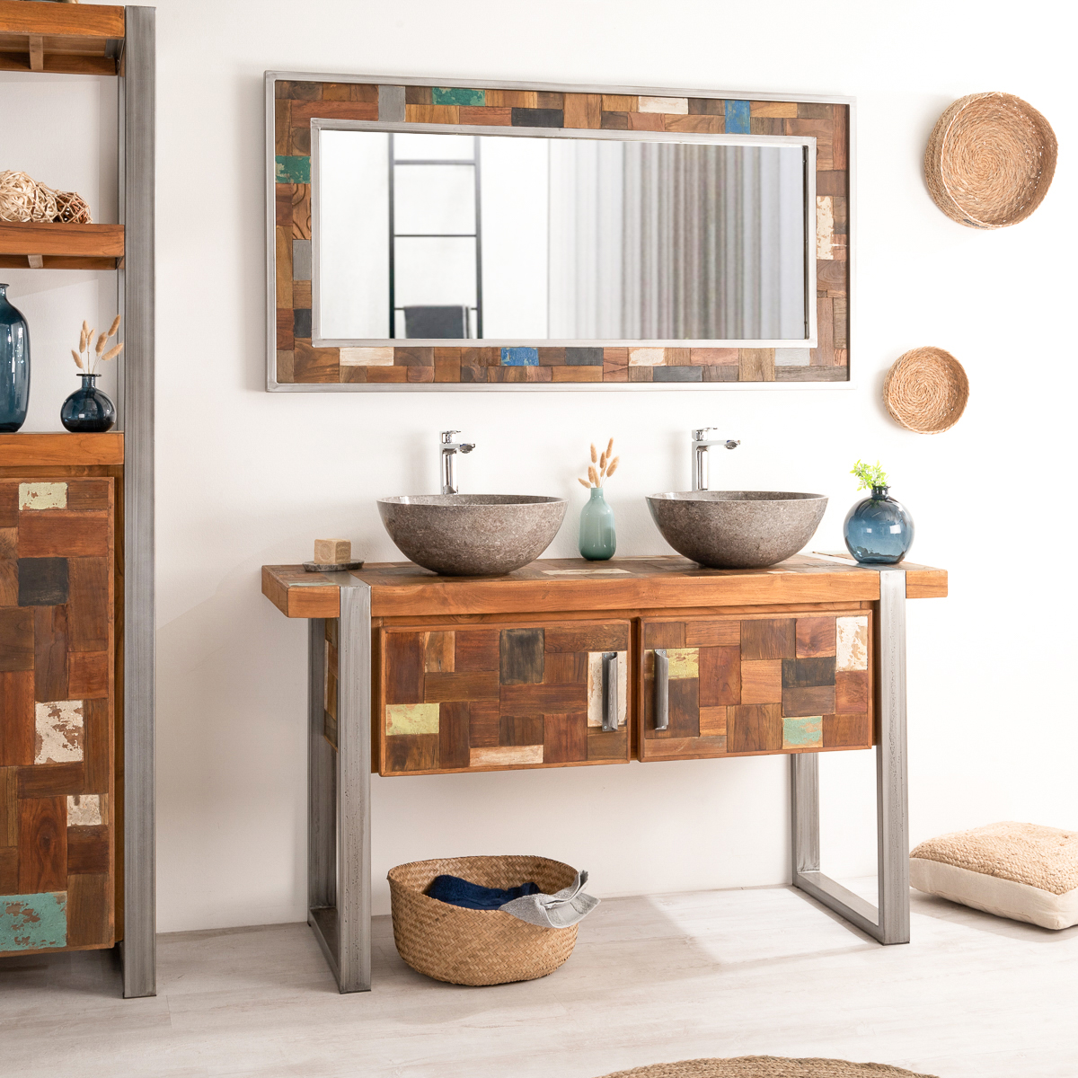 miroir de d coration en bois teck massif et m tal factory rectangulaire naturel l 145 cm. Black Bedroom Furniture Sets. Home Design Ideas