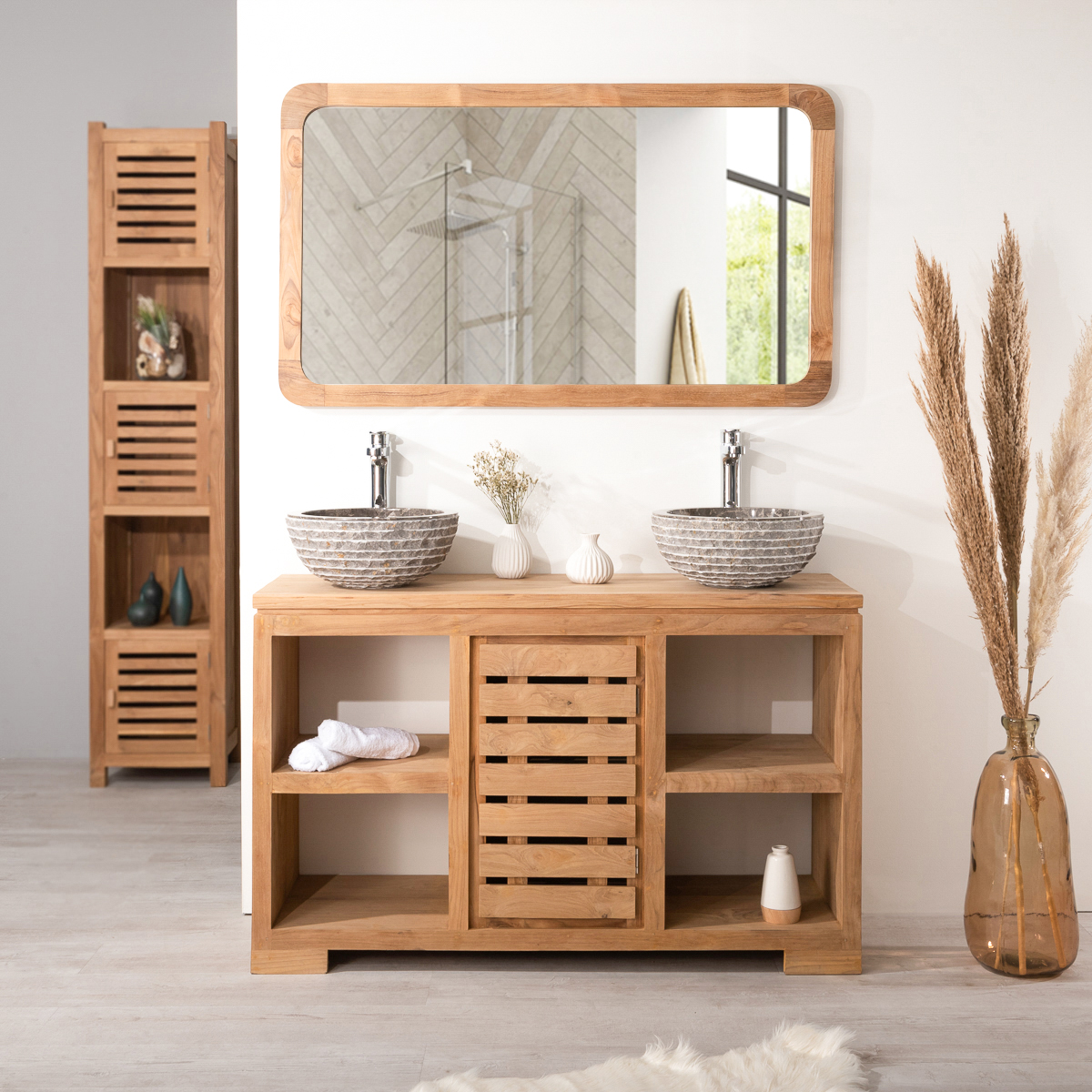 miroir teck grand miroir salle de bain r tro 120x70 cm. Black Bedroom Furniture Sets. Home Design Ideas