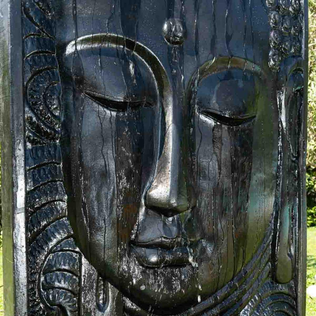 Fontaine Exterieur Bouddha mur d'eau : avec bassin, visage de bouddha, noir, h : 2 m 10