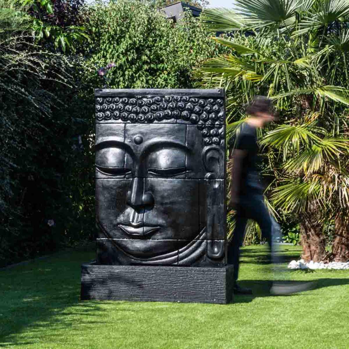 Fontaine Exterieur Bouddha mur d'eau : avec bassin, visage de bouddha, noir, h : 1 m 80