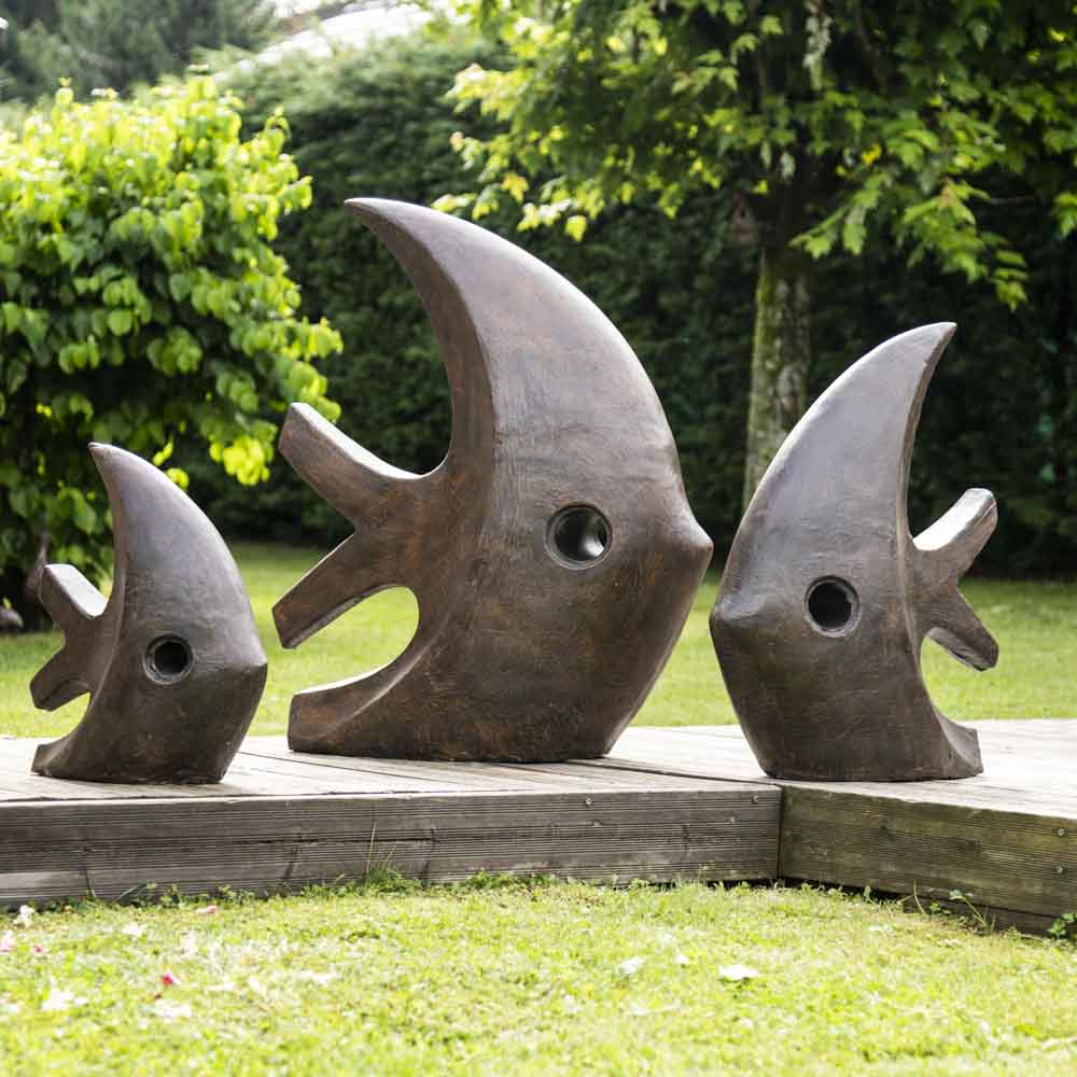 Grande sculpture moderne poisson 100 cm brun - Sculpture moderne pour jardin ...