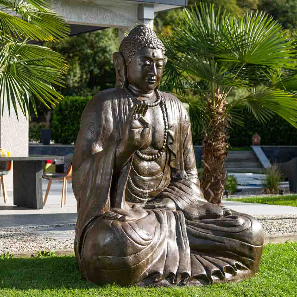 statue de bouddha assis en fibre de verre position offrande h 2 m. Black Bedroom Furniture Sets. Home Design Ideas
