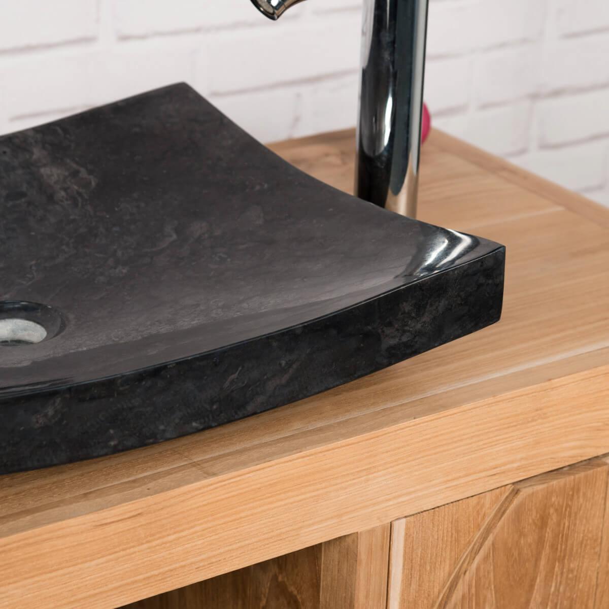 vasque poser en marbre g nes rectangle noire l 50 cm. Black Bedroom Furniture Sets. Home Design Ideas