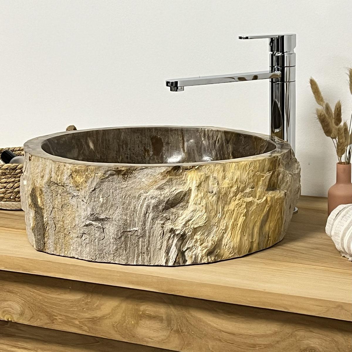 Vasque vasque poser bois p trifi fossilis 60 cm - Grande vasque a poser ...