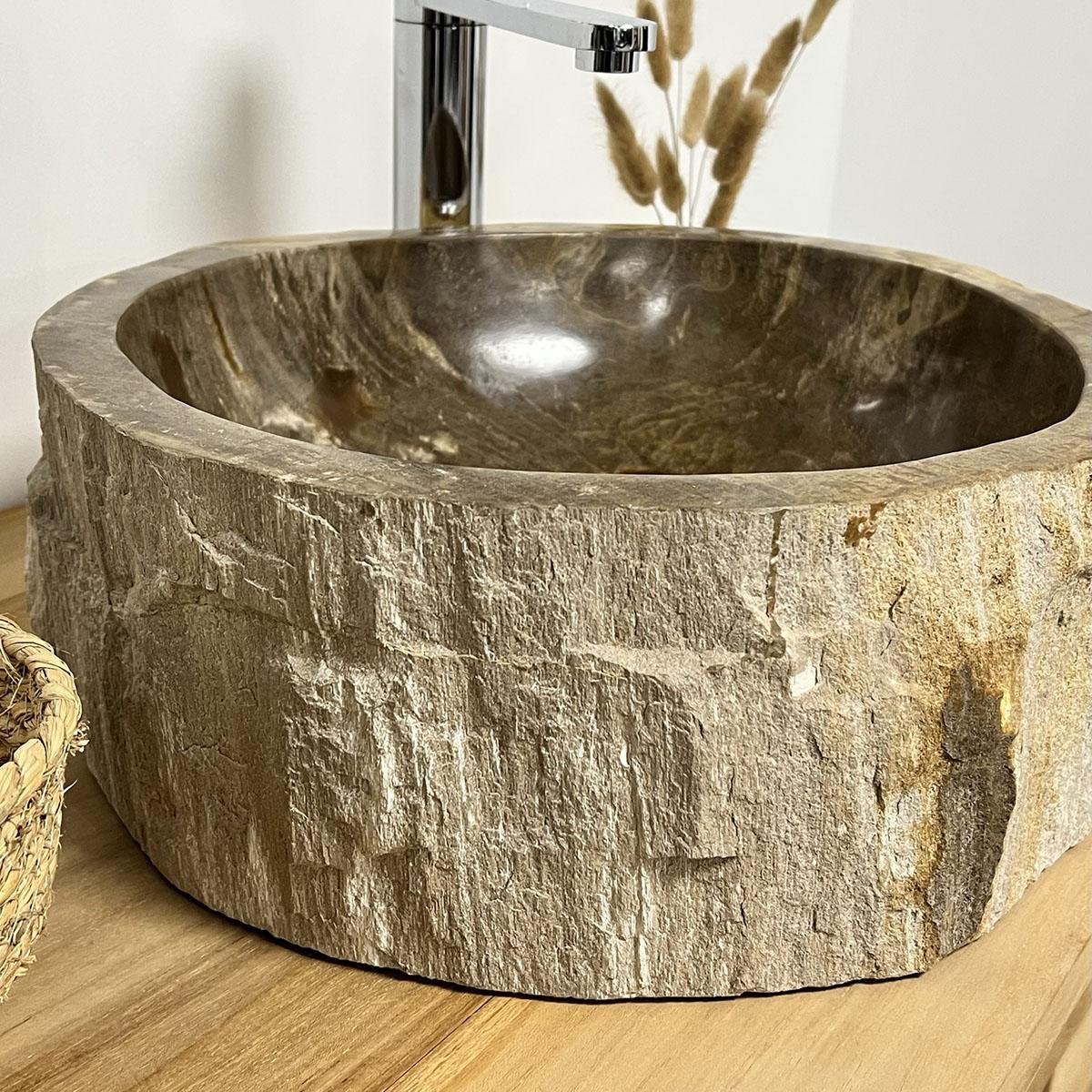 vasque vasque poser bois p trifi fossilis 60 cm. Black Bedroom Furniture Sets. Home Design Ideas