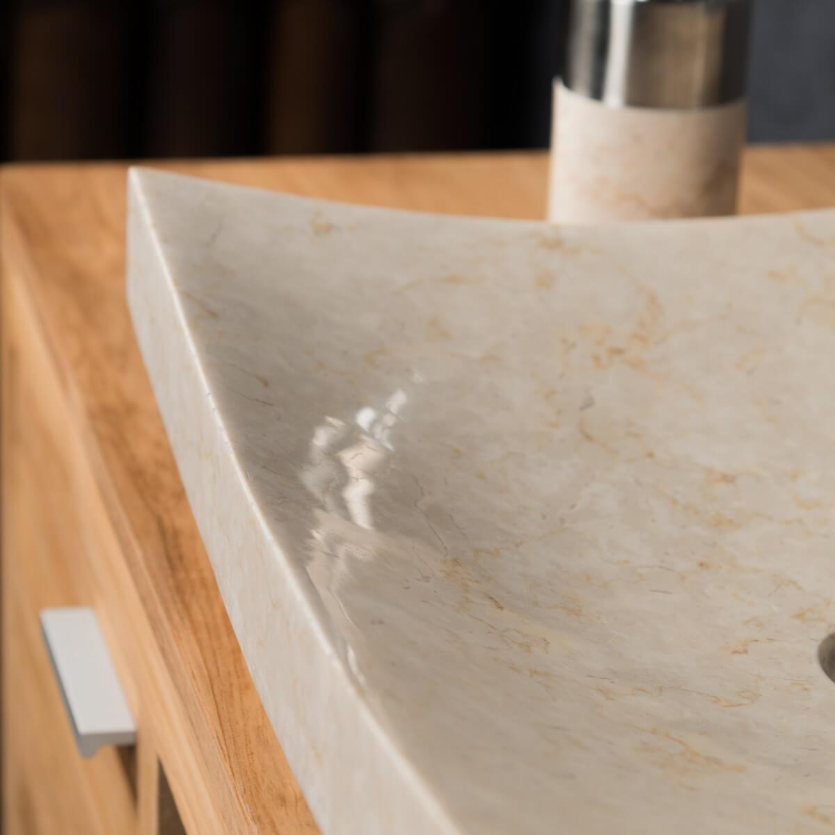 grande vasque cr me 50cm poser rectangle en marbre genes. Black Bedroom Furniture Sets. Home Design Ideas
