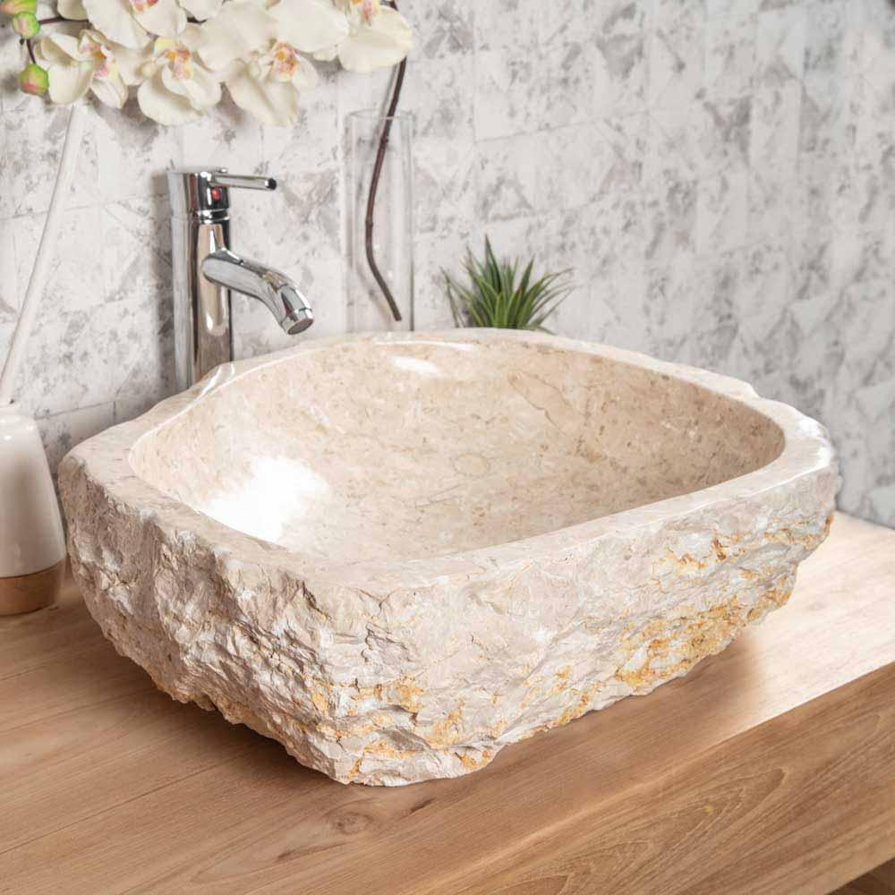 Vasque à poser en marbre : Roc, ronde, crème, L : 45-55 cm