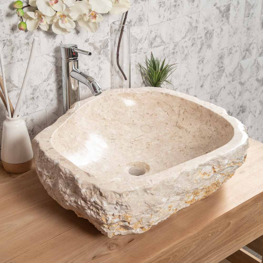 grande vasque de salle de bain poser roc en marbre cr me. Black Bedroom Furniture Sets. Home Design Ideas