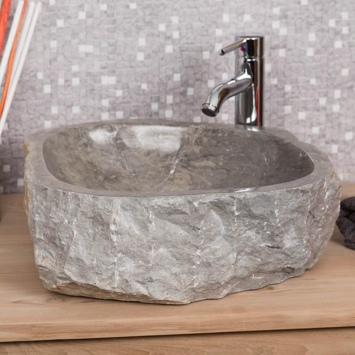 Salle De Bain En Longueur grande vasque de salle de bain à poser roc en marbre gris