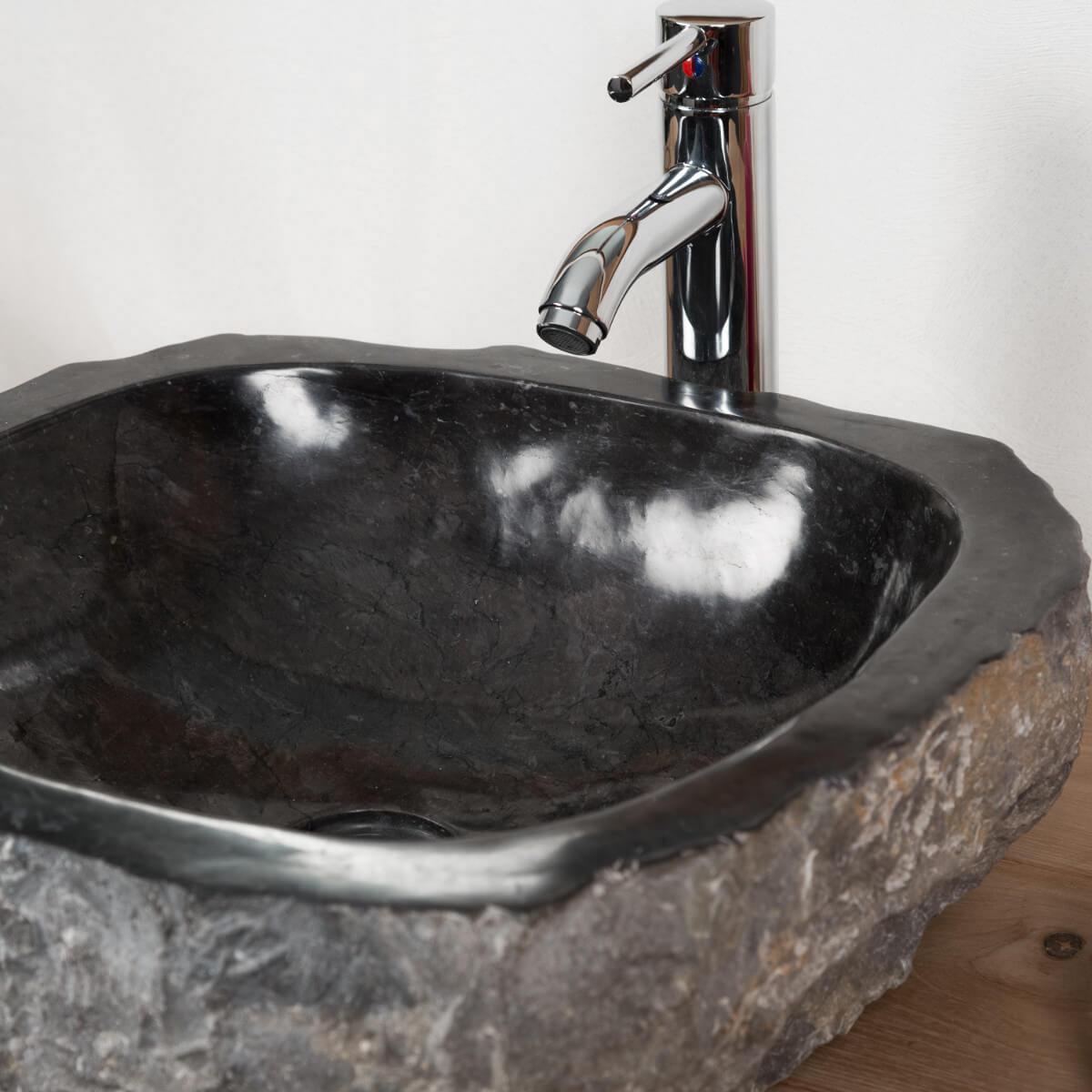 Vasque à poser en marbre : Roc, rectangle, noire, L : 35-40 cm