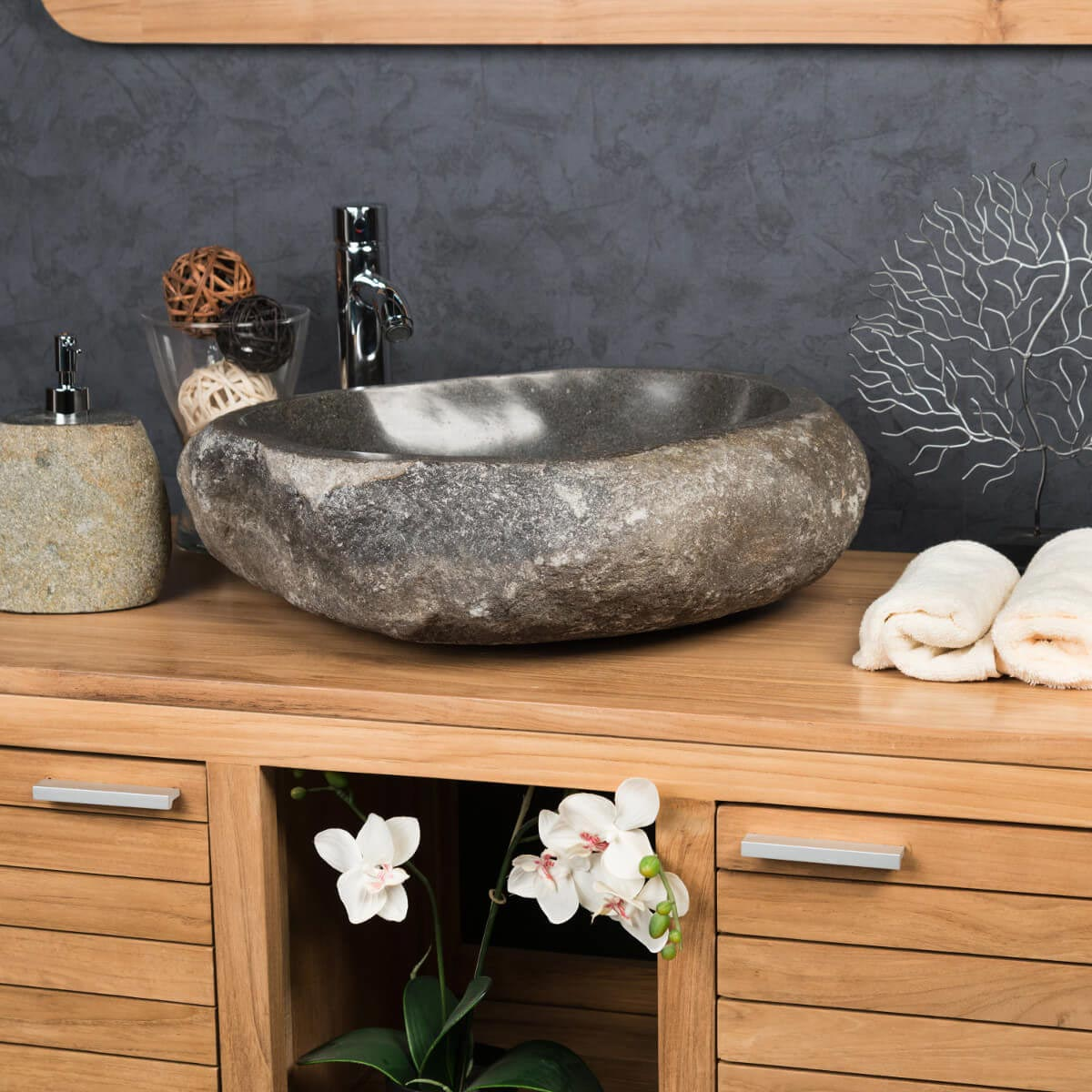vasque 224 poser en galet de rivi232re naturel ronde d 50 cm