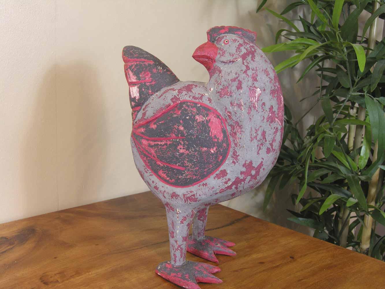 Objet d co poule bois patin gris rouge 24 cm for Objet deco gris