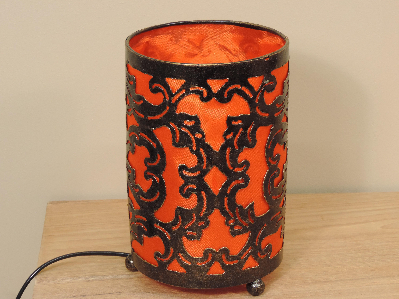 lampe en acier cylindrique orange 20x12 cm. Black Bedroom Furniture Sets. Home Design Ideas