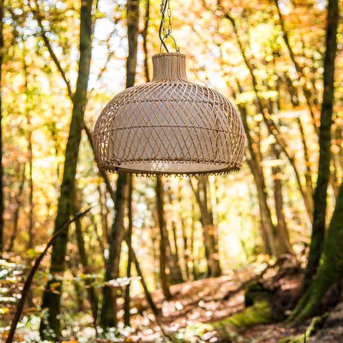 suspension luminaire lampe avec abat jour osier 44 cm. Black Bedroom Furniture Sets. Home Design Ideas