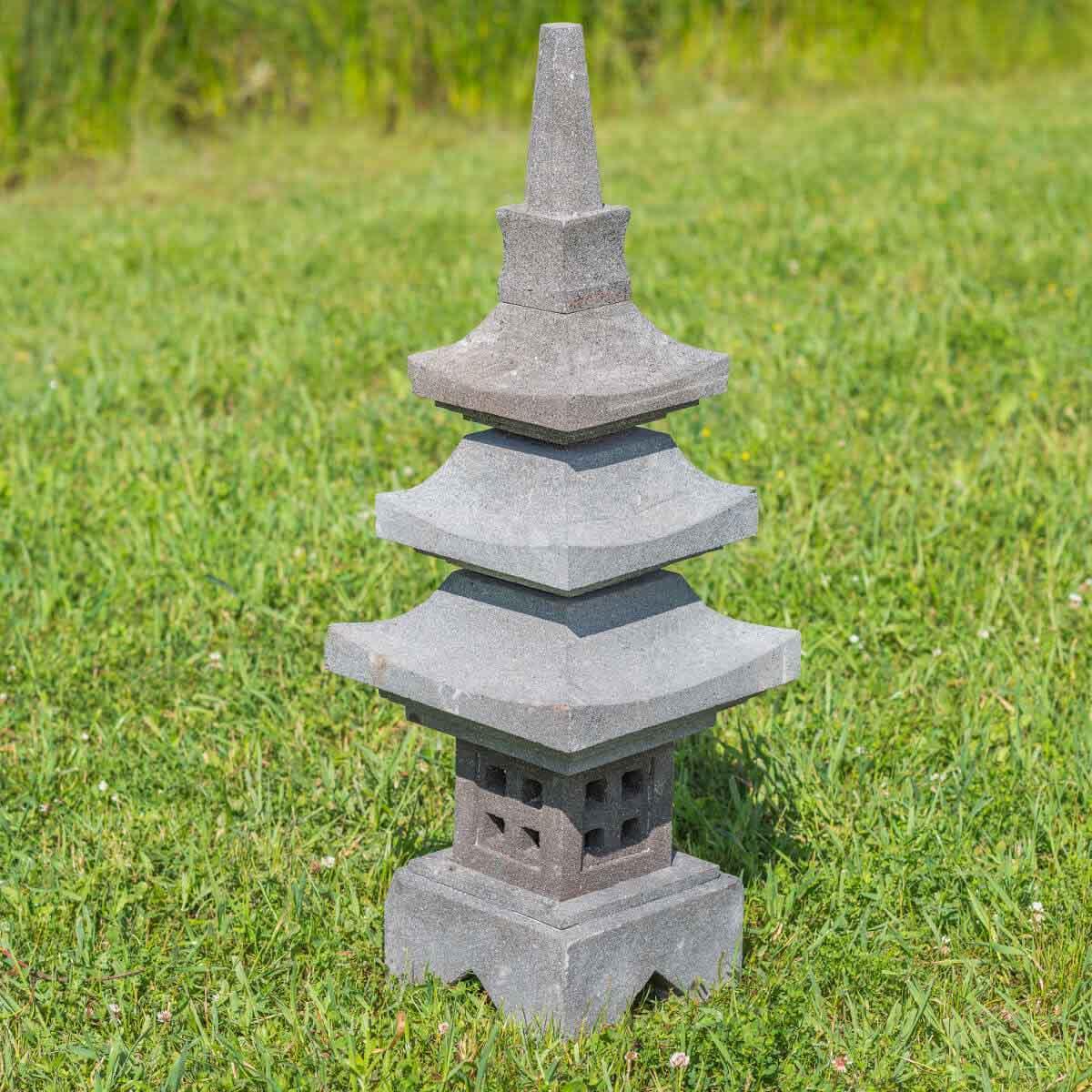 Lampe de jardin en pierre de lave naturel h 90 cm - Table de jardin en pierre de lave ...