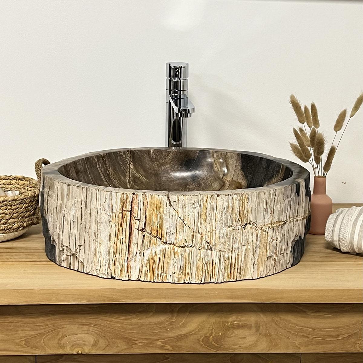 Lavabo de madera lavabo sobre encimera de madera fosilizada 65 cm - Encimera bano madera ...