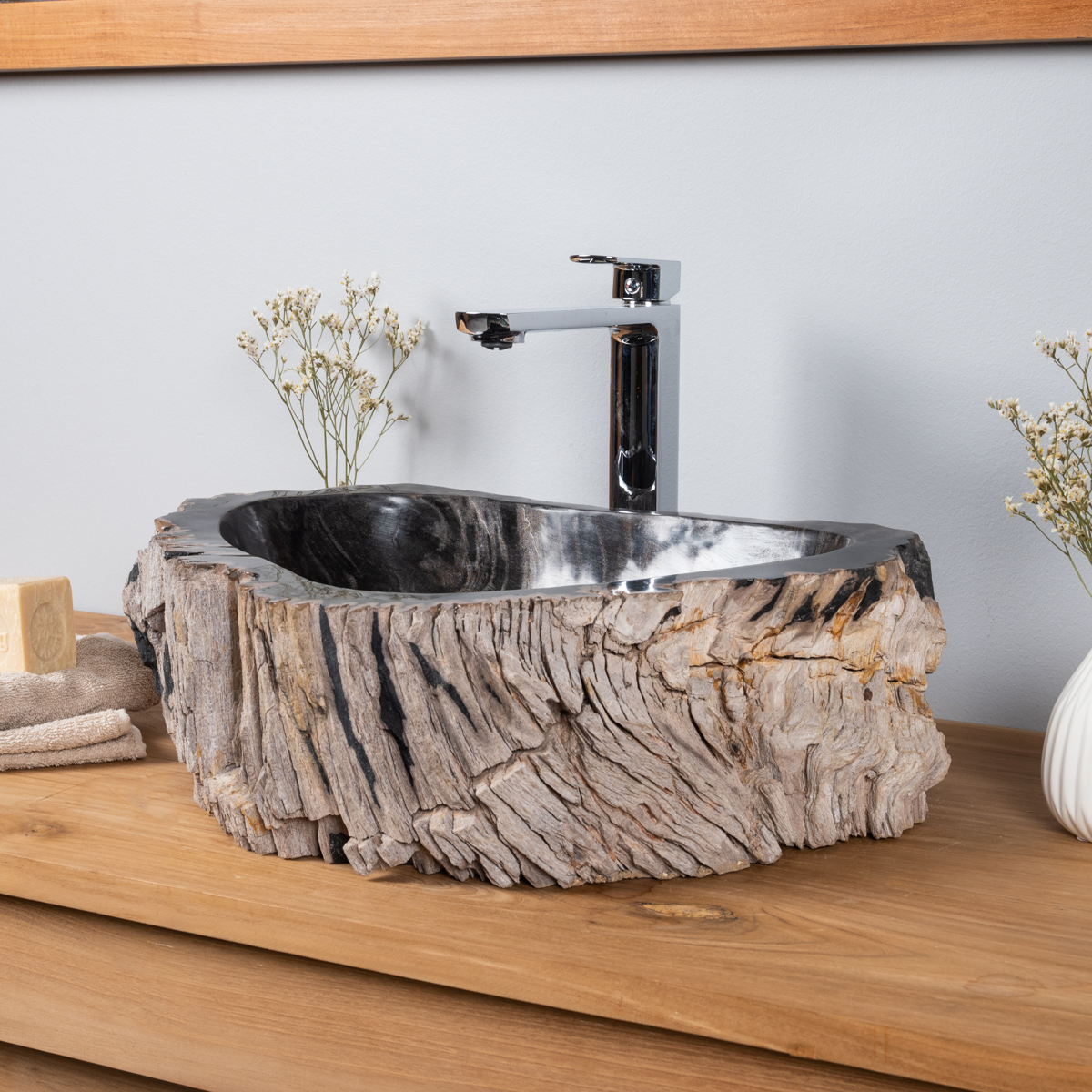 lavabo de salle de bain en bois p trifi fossilis l 38 cm. Black Bedroom Furniture Sets. Home Design Ideas