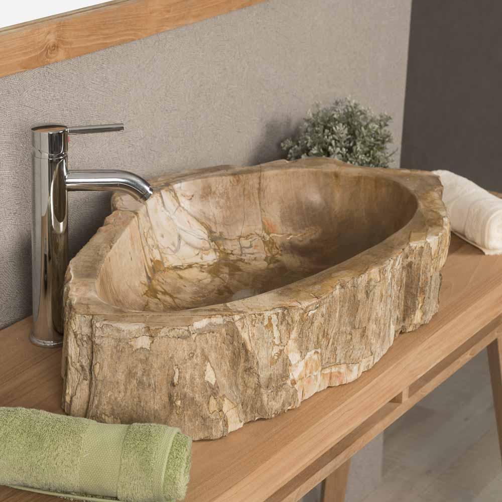 vasque en bois vasque poser bois p trifi fossilis marron 70 cm. Black Bedroom Furniture Sets. Home Design Ideas