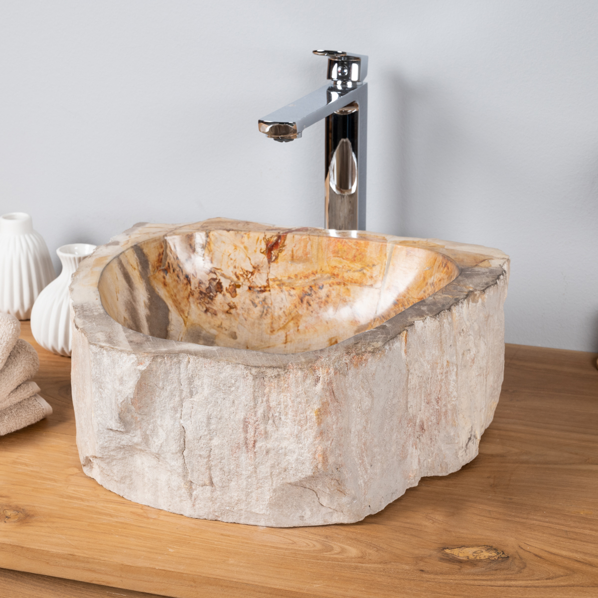 lavabo de salle de bain en bois p trifi fossilis beige l 40 cm. Black Bedroom Furniture Sets. Home Design Ideas