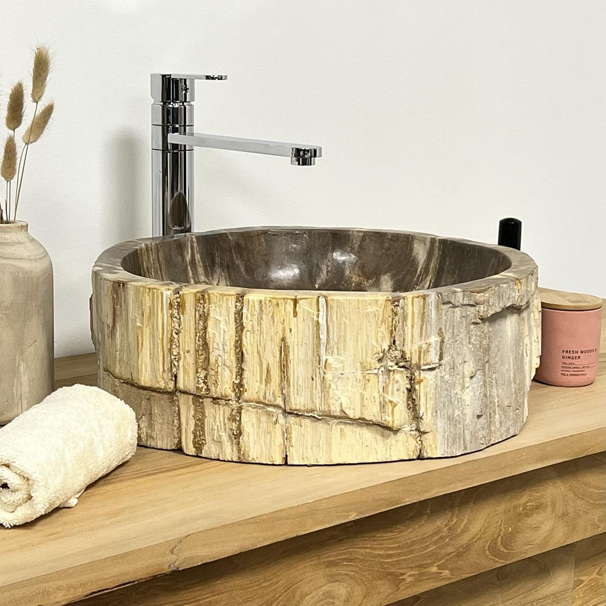 lavabo de salle de bain en bois p trifi fossilis beige l 40 cm. Black Bedroom Furniture Sets. Home Design Ideas