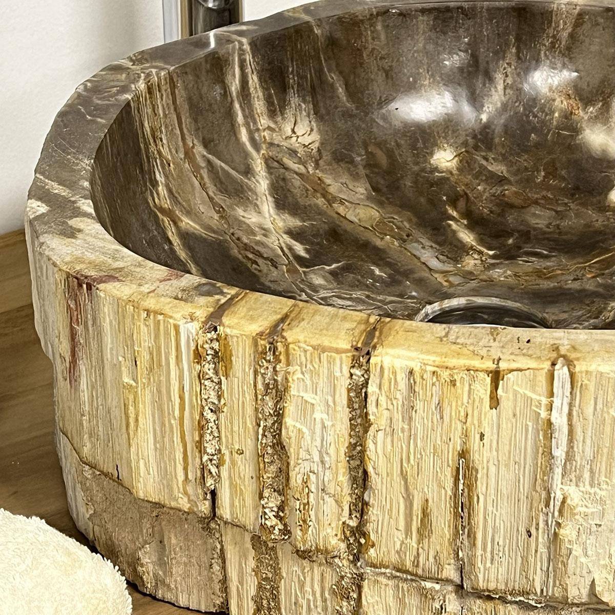 lavabo de salle de bain en bois p trifi fossilis beige. Black Bedroom Furniture Sets. Home Design Ideas