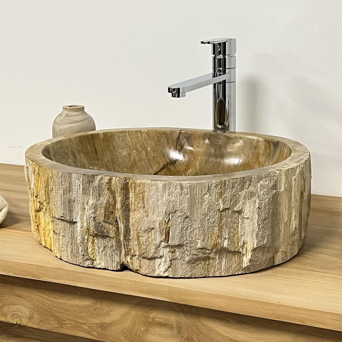 lavabo de salle de bain en bois p trifi fossilis marron. Black Bedroom Furniture Sets. Home Design Ideas