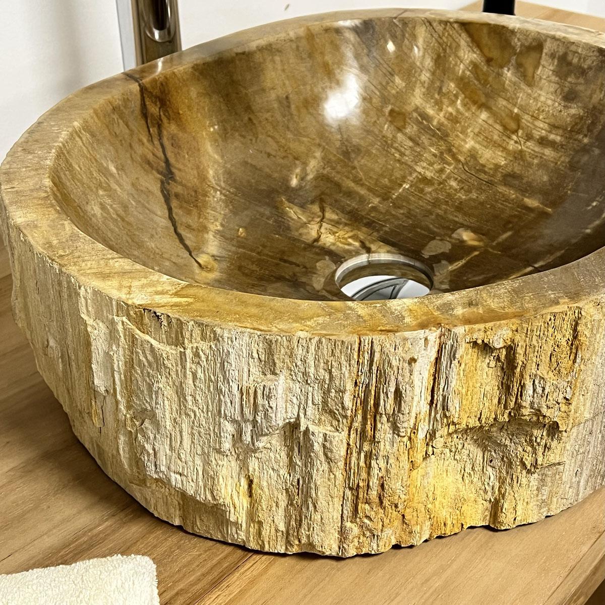 Lavabo de salle de bain en bois pétrifié fossilisé marron 50 CM