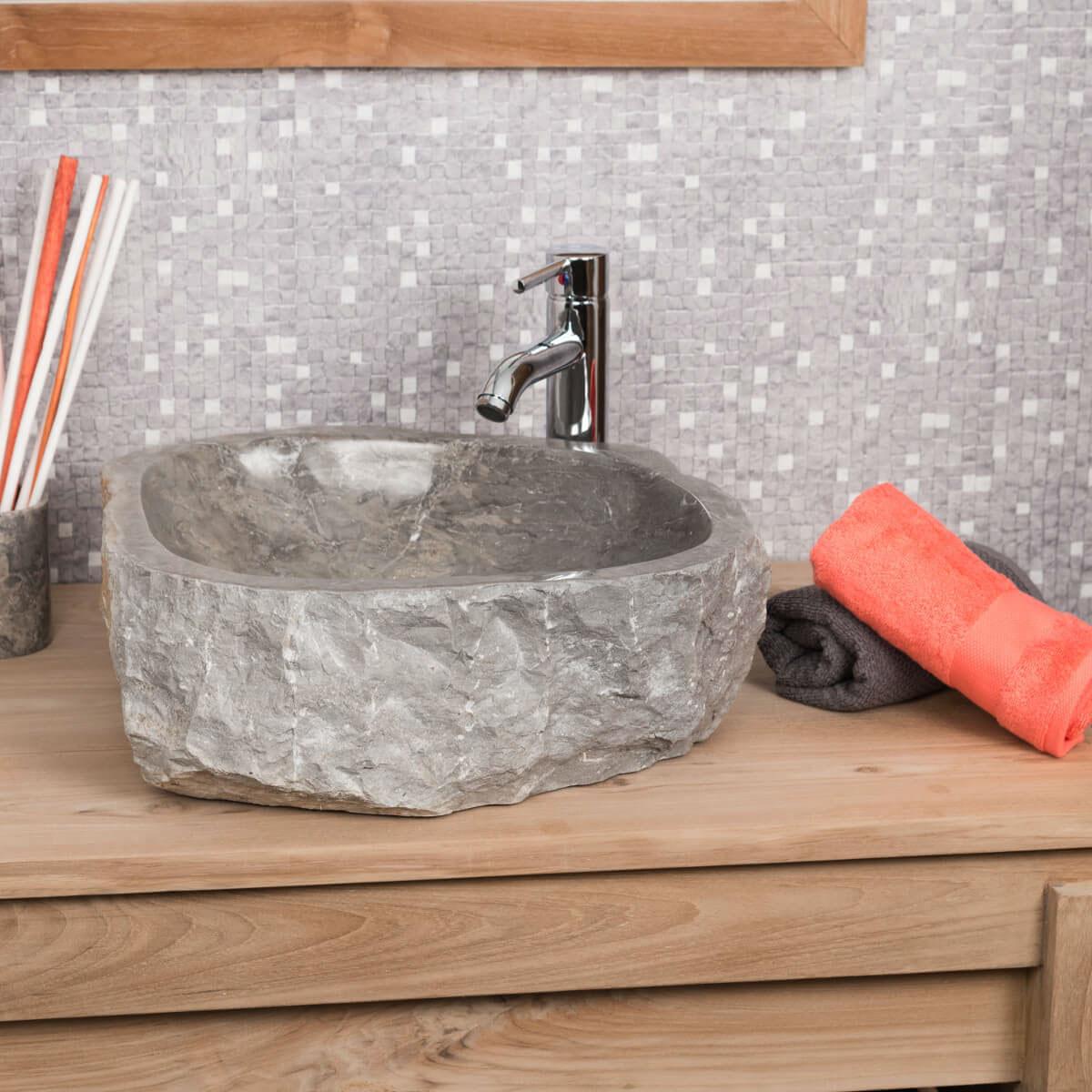 Lavabo encimera de m rmol roca rect ngulo gris ancho - Complementos cuarto de bano ...
