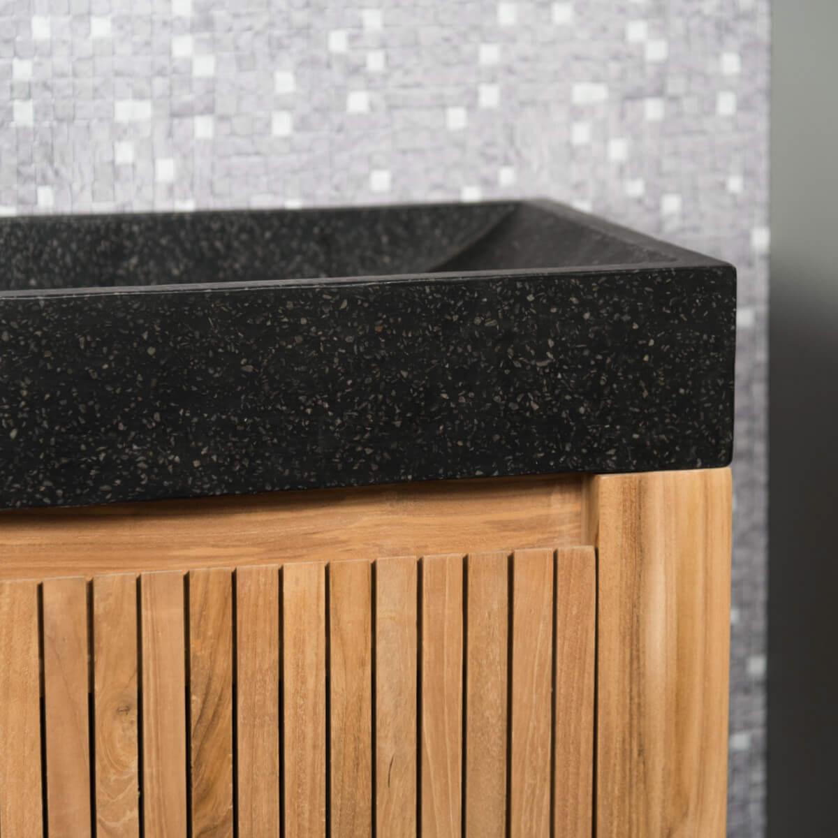 Meuble sous vasque simple vasque suspendu en bois teck for Meuble vasque en bois massif