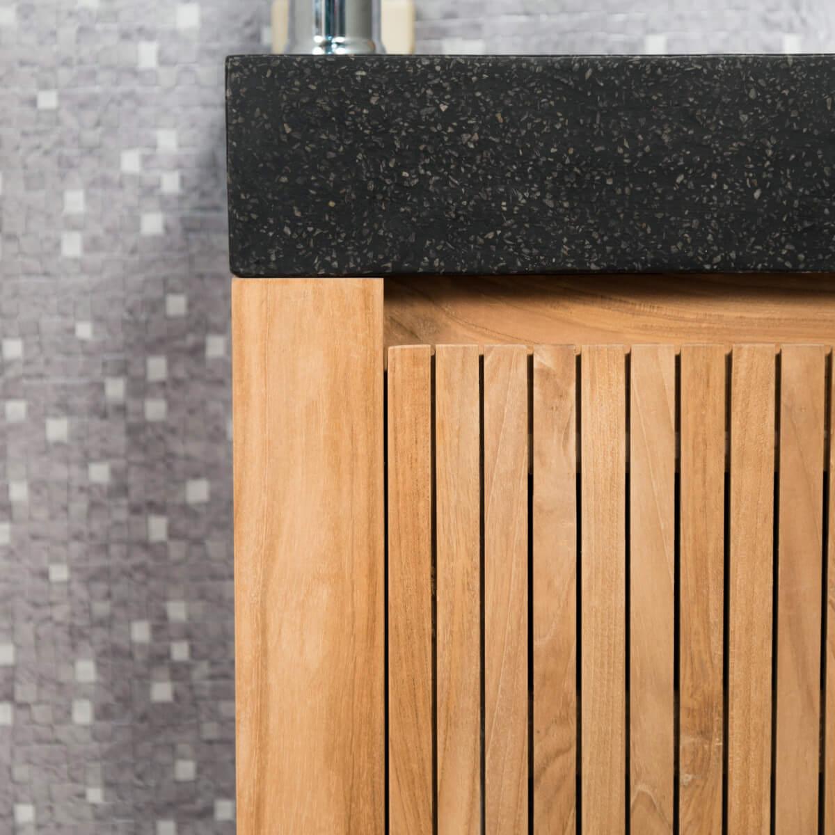 meuble sous vasque simple vasque suspendu en bois teck massif luxe noir l 60 cm. Black Bedroom Furniture Sets. Home Design Ideas