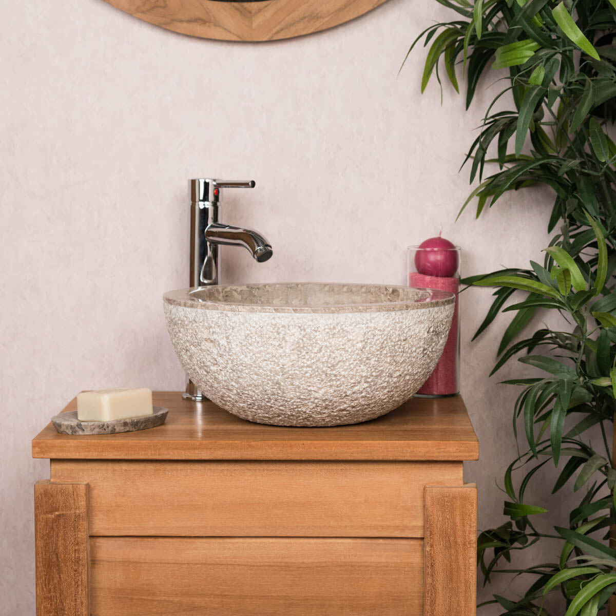 lave mains de wc poser en marbre stromboli gris taupe d 35 cm. Black Bedroom Furniture Sets. Home Design Ideas