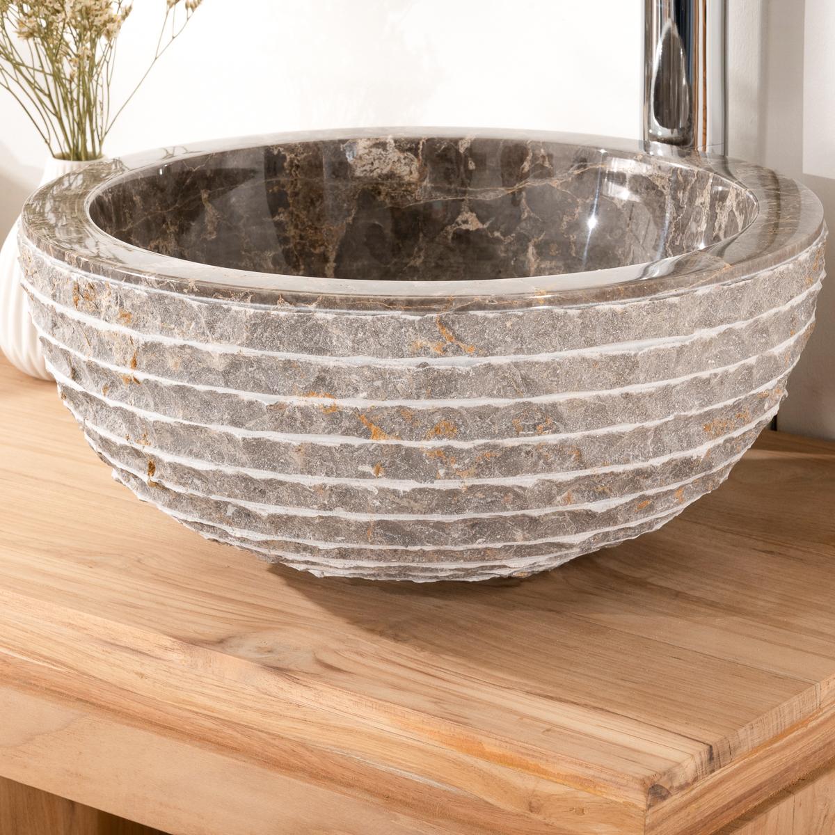 lave mains en marbre vesuve pierre gris taupe 35cm. Black Bedroom Furniture Sets. Home Design Ideas