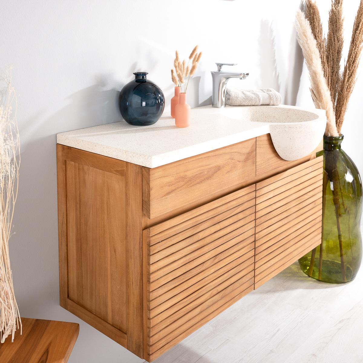 Meuble sous vasque simple vasque suspendu en bois teck massif vasque en pierre naturelle - Mitigeur haut salle de bain ...