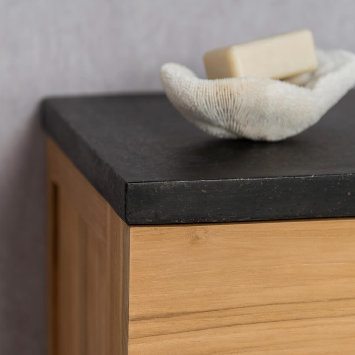 Meuble sous vasque simple vasque suspendu en bois teck - Meuble tv 1m ...