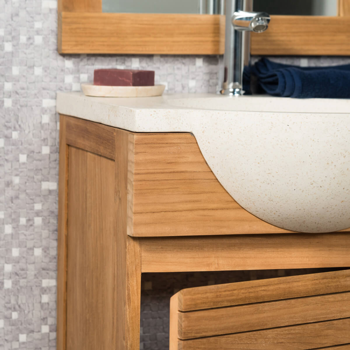 meuble sous vasque simple vasque en bois teck massif contemporain rectangle cr me l 50 cm. Black Bedroom Furniture Sets. Home Design Ideas