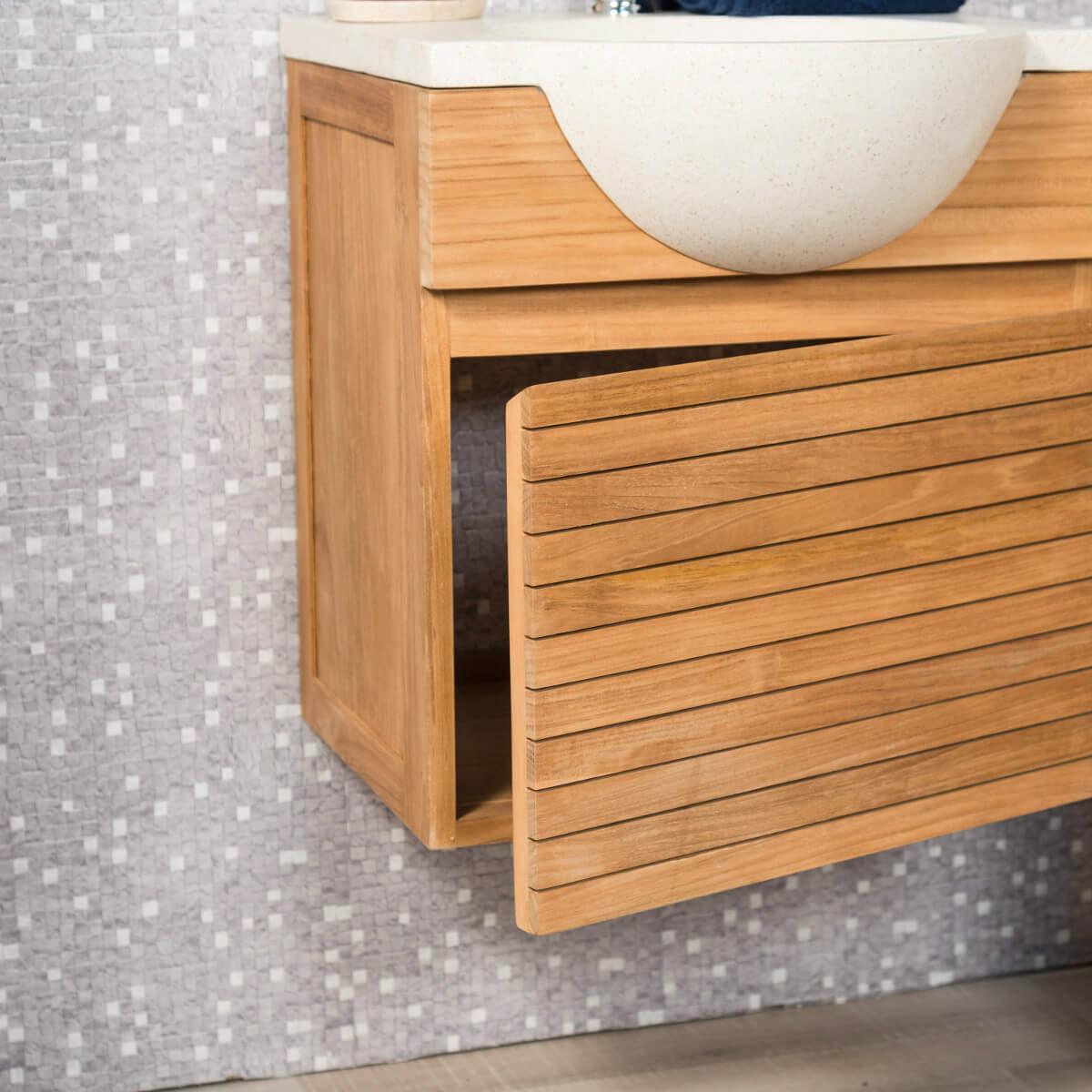 Meuble sous vasque simple vasque en bois teck massif contemporain rectangle cr me l 50 cm - Meuble de salle de bain contemporain ...