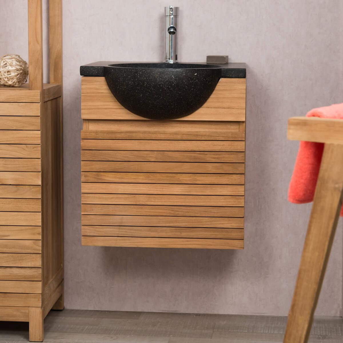 Meuble sous vasque simple vasque en bois teck massif contemporain rect - Vasque noire salle de bain ...
