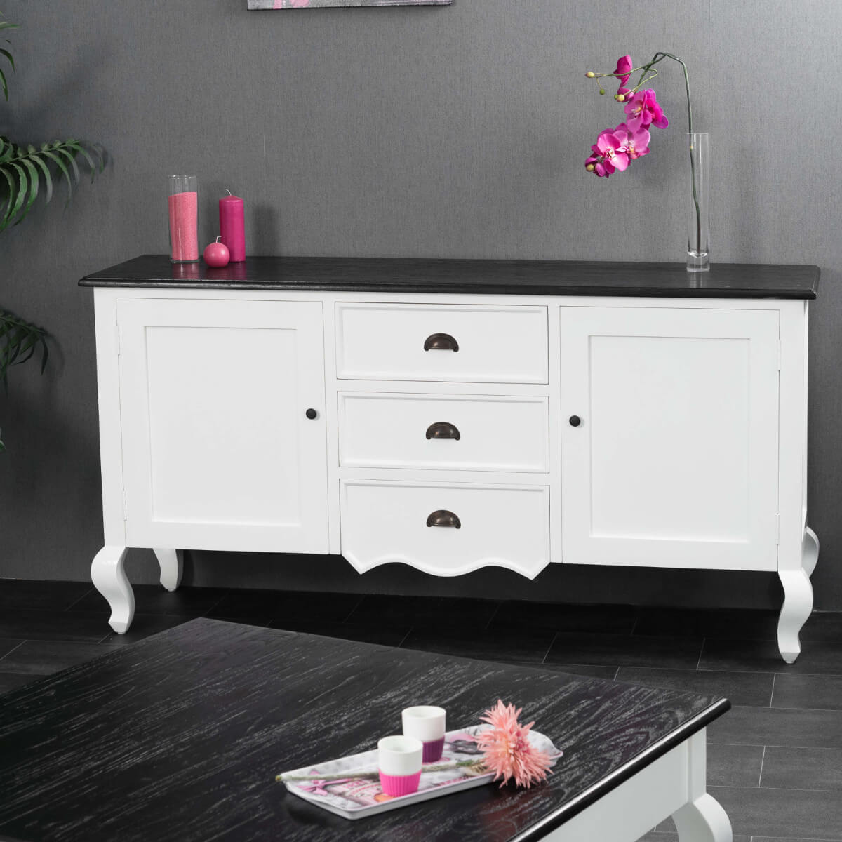 buffet de salon en bois d 39 acajou et de pin massif idao rectangle blanc naturel l 160 cm. Black Bedroom Furniture Sets. Home Design Ideas