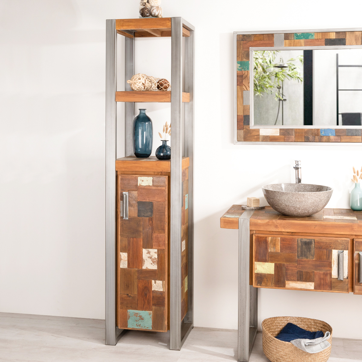 colonne de rangement en bois teck massif m tal. Black Bedroom Furniture Sets. Home Design Ideas