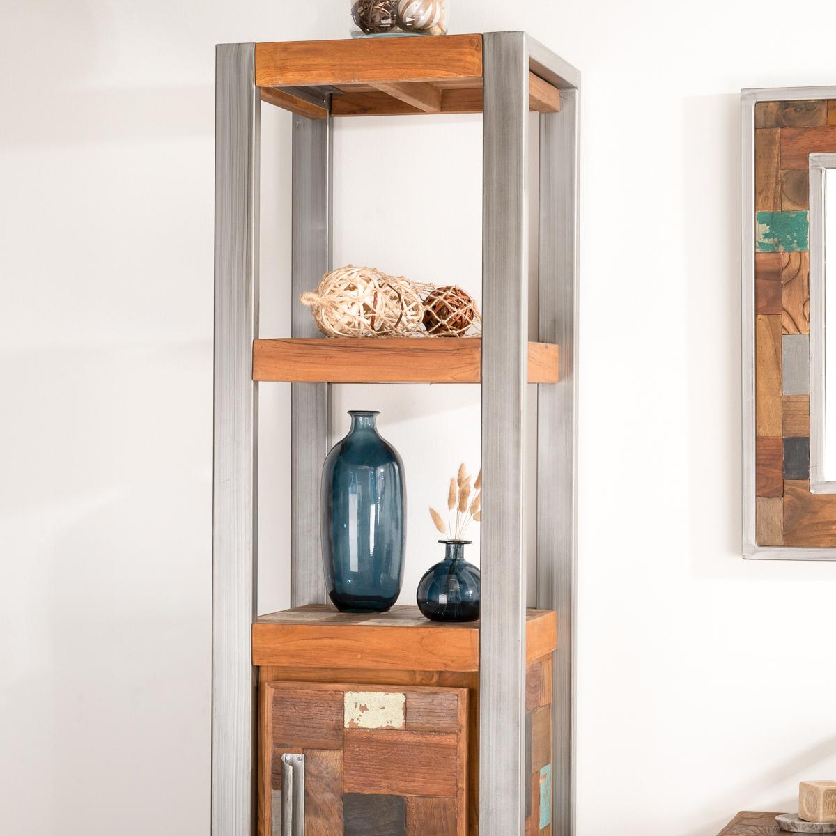 meuble colonne de salle de bain factory teck m tal 190 cm. Black Bedroom Furniture Sets. Home Design Ideas