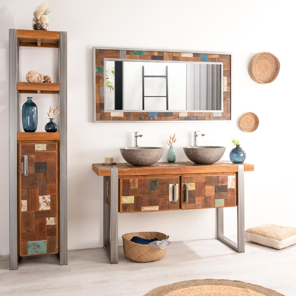 meuble salle de bain teck metal