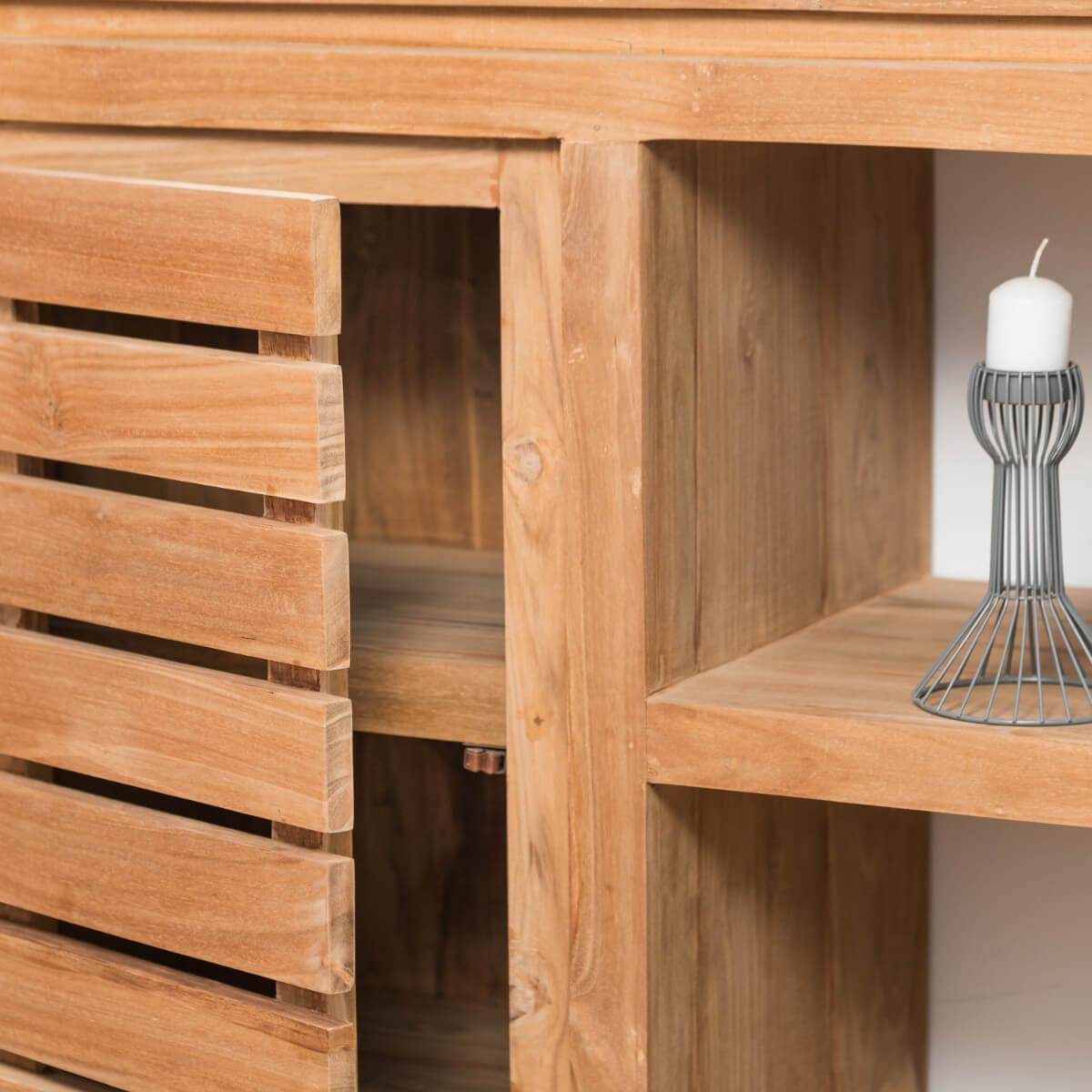 commode de salle de bain en bois de teck massif nature rectangle naturel l 120 cm. Black Bedroom Furniture Sets. Home Design Ideas