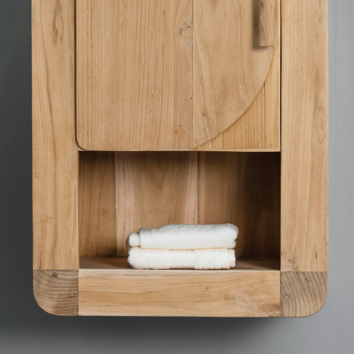 Armoire De Toilette En Bois Teck Massif R Tro Rectangle Naturel H 44 Cm