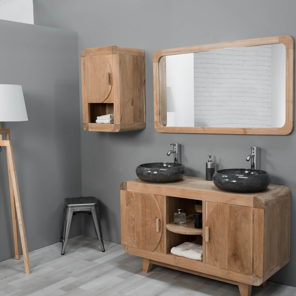 meuble de salle de bain armoire de toilette en teck r tro 44cm. Black Bedroom Furniture Sets. Home Design Ideas