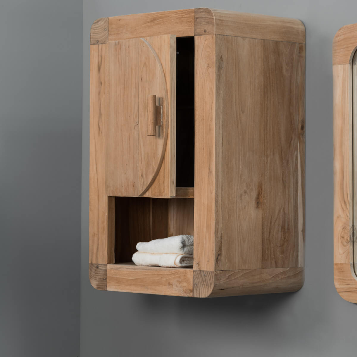 armoire de toilette en bois teck massif r tro rectangle naturel h 44 cm. Black Bedroom Furniture Sets. Home Design Ideas