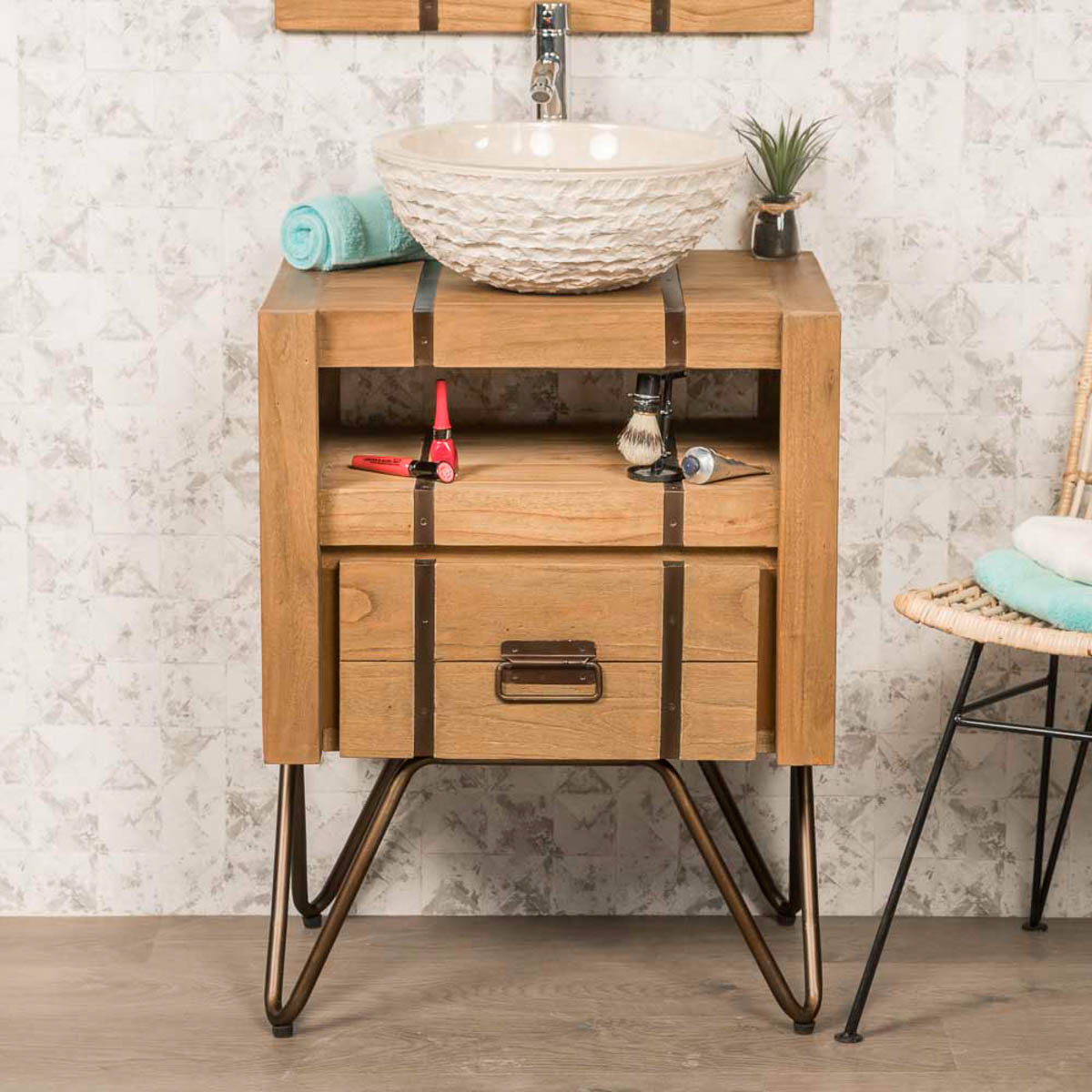 Meuble Sous Vasque Simple Vasque En Bois Mindi Massif Et M Tal Loft Rectangle Naturel L