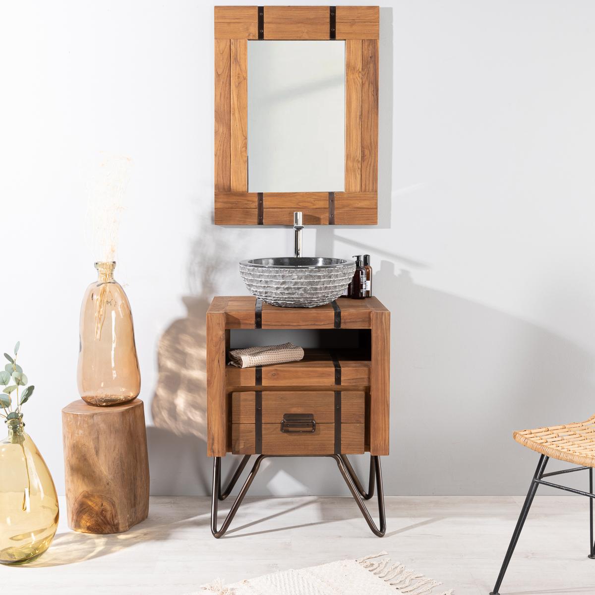 meuble de salle de bain loft bois m tal 60 cm. Black Bedroom Furniture Sets. Home Design Ideas