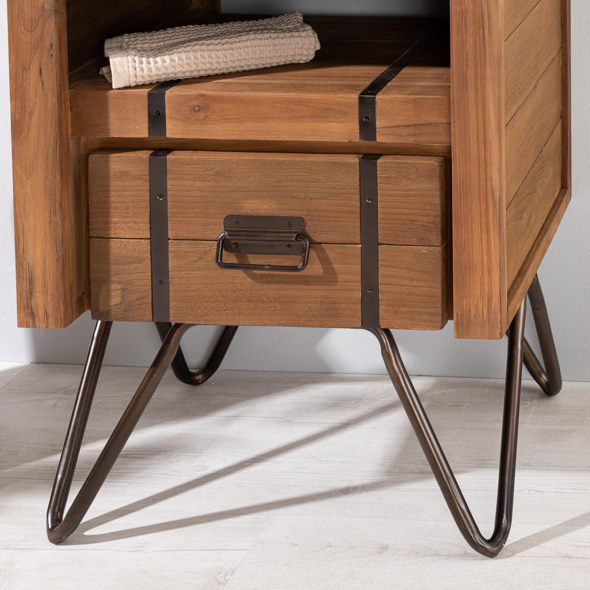 Meuble de salle de bain en mindi naturel et m tal 60 loft - Meuble salle de bain nature ...